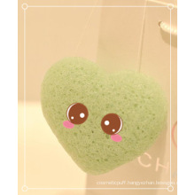 Green Tea Wet Konjac Sponge for Skin Care and Facial Cleansing