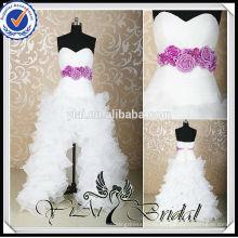 RSW455 kurzer vorderer langer rückseitiger Schatz-Ausschnitt mit Rüschen besetzter purpurroter und weißer Hochzeits-Kleider