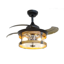 Black Retractable Ceiling Fan with Glass Lampshade