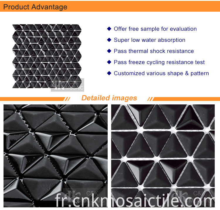 3D Black Glass Mosaic Wall Tiles