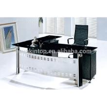 2015 mesa de escritório de design novo em vidro com mesa de escritório em forma de L