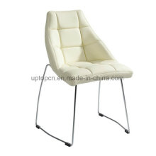 Leaf Shape White Leather Restaurant Dining Chair with Sled Legs (SP-LC255)