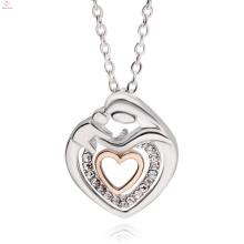 Die beste benutzerdefinierte Muttertag Schmuck Doppel Herz Kristall Anhänger Halskette
