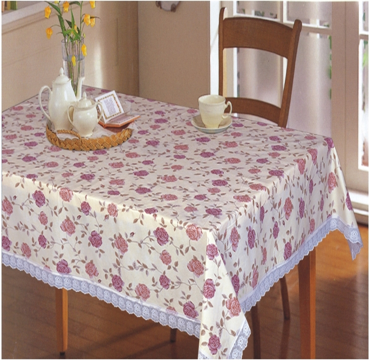 Pvc Non Woven Back Table Cloth With 2 Lace