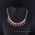 Mode Amerika handgemachte Kristall Gold Halskette Set