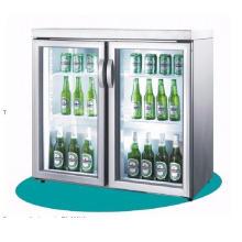 Refrigerador de la pantalla de la bebida fría de la cerveza de cristal doble de la puerta