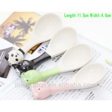 Haonai Funny cute ceramic spoon with 3D handle