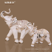 trunk up elephant high quality statue father and son elephant statue for interior decor