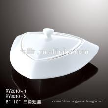 Platos de sopa de cerámica blanca de hotel y restaurante, platos de sopa de vajilla, conjunto de vajilla de porcelana