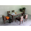 Compact Solid Design Water Hyacinth Dining Set For Indoor Natural Wicker Furniture