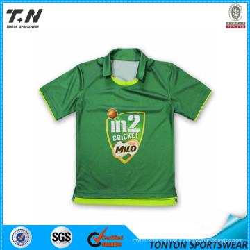 100% Polyester Cricket Uniforms Jersey avec motif