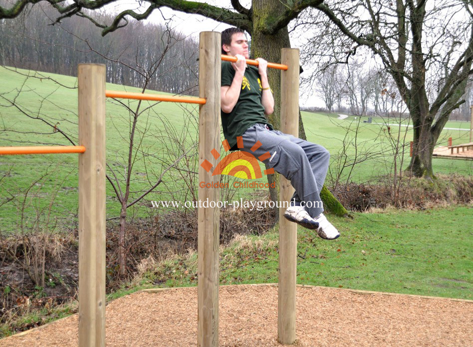 Wooden Uneven Bars Balance Playground For Sale