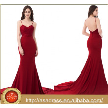 ASAJ-011 Real Sample Sexy Spaghetti Straps Backless party girl dress Burgundy Mermaid Evening Party Dresses