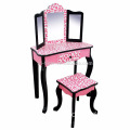 Fashion Prints Girls Vanity Table Stool Set with Mirror Leopard for KIDS (Pink Black)