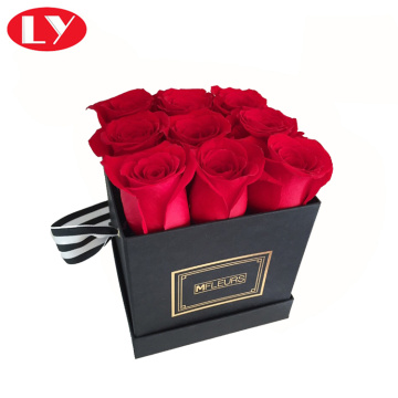 Paper Black Gift Boxes with Lids for Flowers