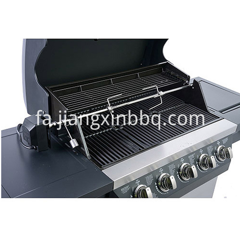 5 Burners Nature Gas BBQ Grill Opening Lid View