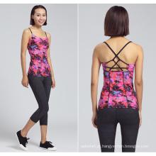 Camisola de alças da ioga da longarina da impressão de Custom Digital da roupa da senhora