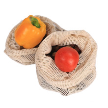 recycled grocery  drawstring shopping 100% cotton mesh produce bags