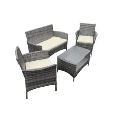 Серый 4PCS Ротанг сад Открытый стол