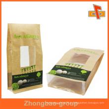 Janela portátil quadrado fundo saco de papel para embalagem de alimentos