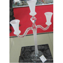 Frosting Glass Candle Holder with Three Posts.