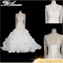 Tiamero French shinny lace long sleeve Over Hip cake shape beaded party gown wedding dress with bandage clousure