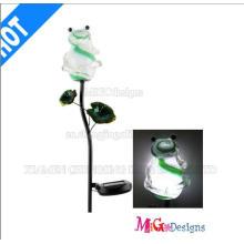 Pieu de lumières de grenouille solaire en métal et verre personnalisé
