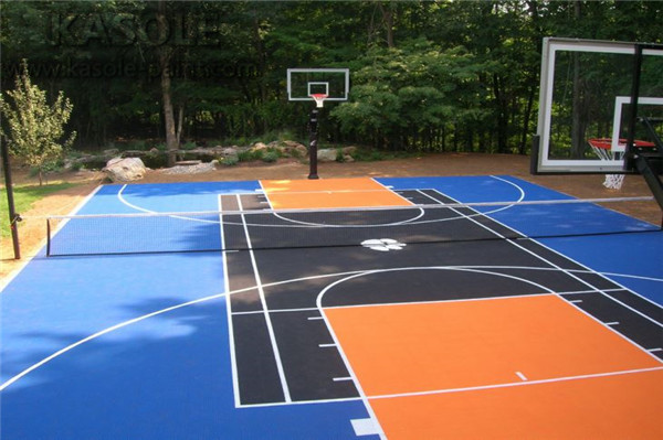 outdoor rubber basketball court
