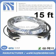 15pin SVGA VGA со стереофоническим кабельным кабелем 3,5 мм для ПК