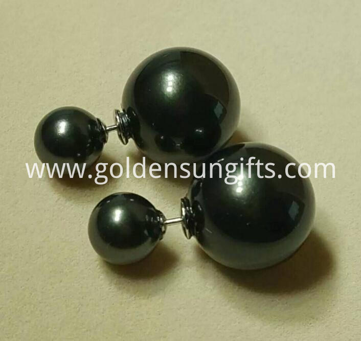 Black Shell Pearl Bead Ear Stud Jewelry