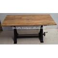 Industrial Crank Drafting Table Rectangular Mango Wood Top