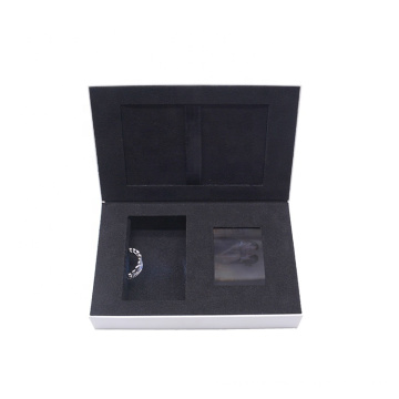 Luxury custom personalized LCD video display music jewelry ring gift box with ribbon