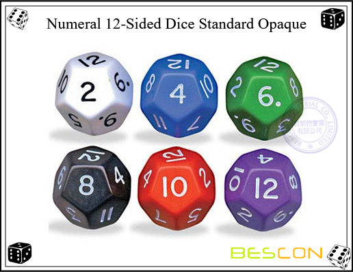 Numeral 12-Sided Dice Standard Opaque