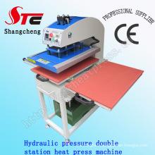 Machine de transfert de chaleur de T-shirt de pression d'huile 40 * 50cm Machine de presse automatique de pression de machine de presse de chaleur de double station Machine de transfert de chaleur de pression d'huile automatique