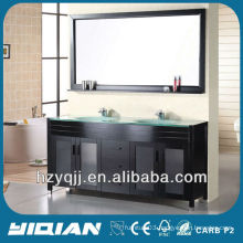 Bathroom Floor Standing Espresso Finish Painting Modern Double Sink Tempered Glass Top Solid Wood Bathroom Vanity Unit