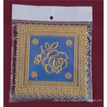 12.5*12.5 см квадратная форма голубой золото ПВХ кружева теплоизолирующая подставка дешевые Оптовая продажа фабрики