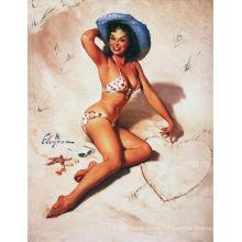 Strand-Mädchen-Weinlese-Plakat