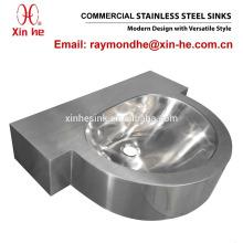 Vandal Resistant Corner Commercial Bathroom Stainless Steel Hand Wash Sink Hand Basin for Lavatory