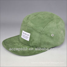 Suede woven label 5 panel hat