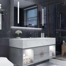 Vaidades de banheiro com espelho moderno com luz