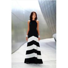 Черное И Белое Полосатое Безрукавное Повседневное вечернее платье