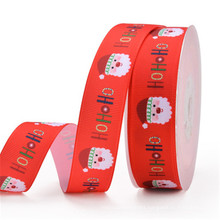 NX265 Woven Edge Ribbon With snow And Christmas Tree For Gift Christmas Decoration