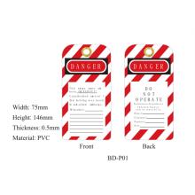 BOSHI Tag de PVC resistente Etiqueta de bloqueio de segurança BD-P01, 75 * 146 * 0.5mm