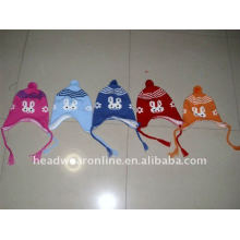 kid knitted hats with earflag