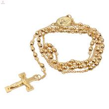 Jesus Aço Inoxidável Longo Estilo Camisola Cadeia Religião Ouro Católico Rosário Colar