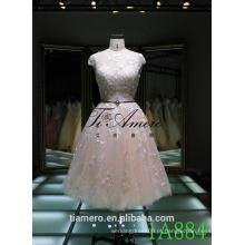 1A884 Sexy Back Open Ver através de requintado vestido de dama de honra de renda / vestido de baile