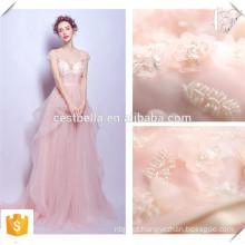 Pink spaghetti strap off ombro mulheres vestido de noite / vestido de noiva nupcial vestido de dama de honra rosa