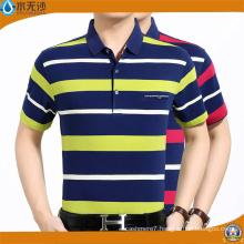 Men Yarn Dye Stripe Polo Shirts Cotton Pique Polo T-Shirts