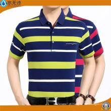 Homens Fio Tintura Listra Camisas Polo Algodão Pico Polo T-Shirts