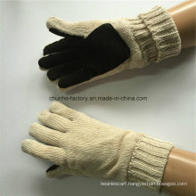 7g Circle Machine Milk Color Acrylic Knitted Leather Gloves